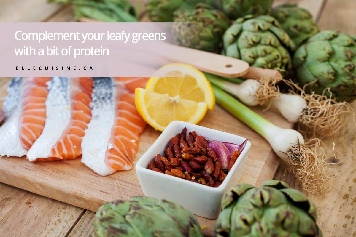 Complement your leafy greens with a bit of protein
