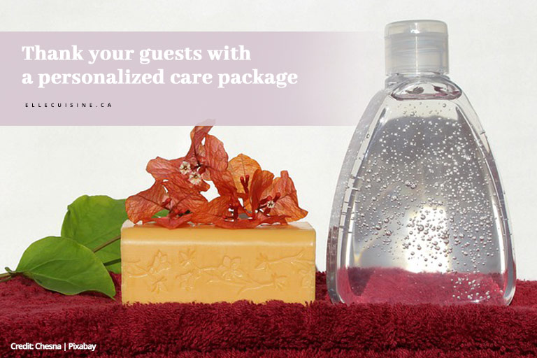 Thank your guests with a personalized care package